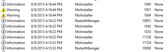SQL Server 2012 SP1 – MsiInstaller Application Log Entries
