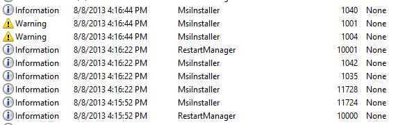 SQL Server 2012 SP1 – MsiInstaller Application Log Entries