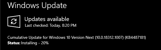 Cumulative Update Windows Insider Build #18312 released