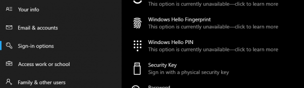 UPDATE - Windows Account Sign-In Settings - Different options #WindowsInsiders Build 18334